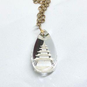 Vintage Crystal Intaglio Pagoda Tower Necklace